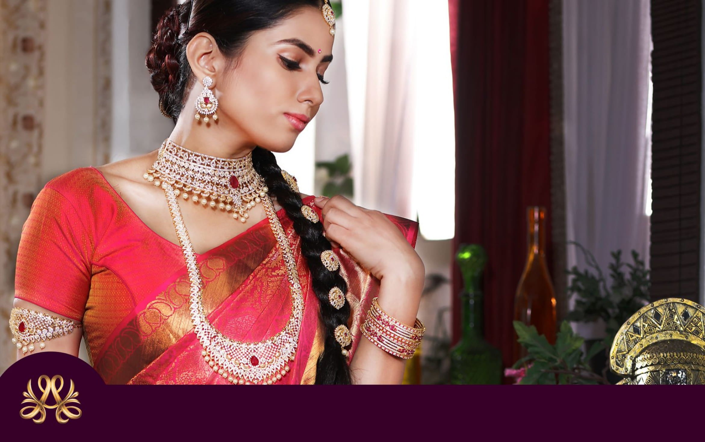 look book page 14 indian women model wearing red saari wearing festive jewellery