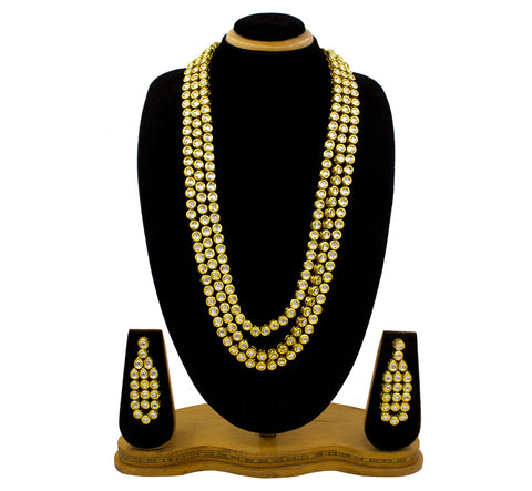 3 Layer Long Maharani Haar / Bridal Kundan Gold Plated Necklace set Women