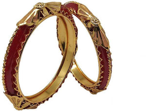 Gold Plated Antique Design Red Bangle for Women Pack of 2
