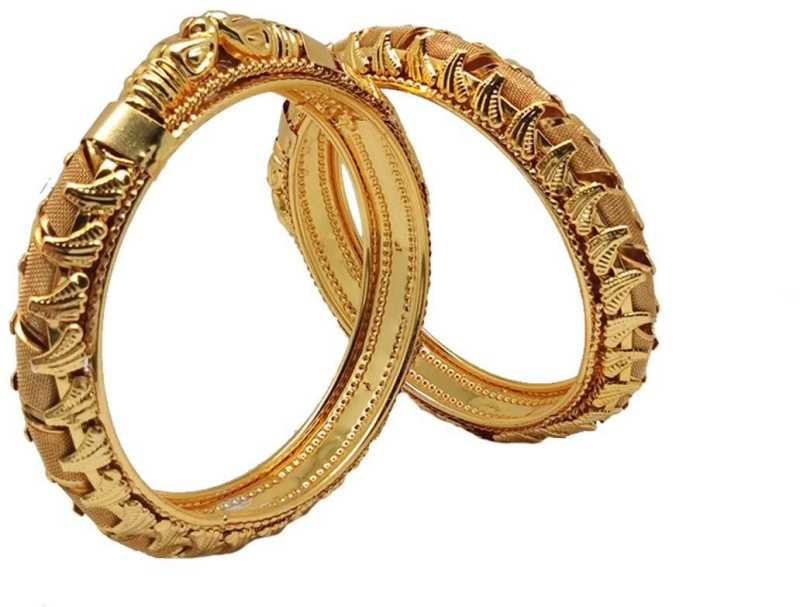 Gold Plated Antique Design Bangle for Women Pack of 2