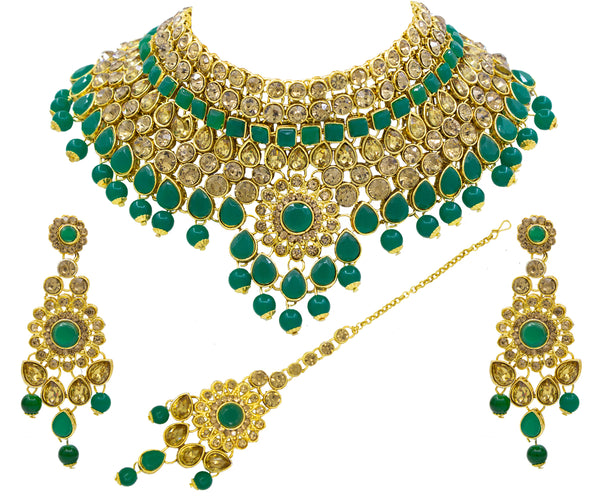 Traditional Green LCT Kundan Choker Necklace Set