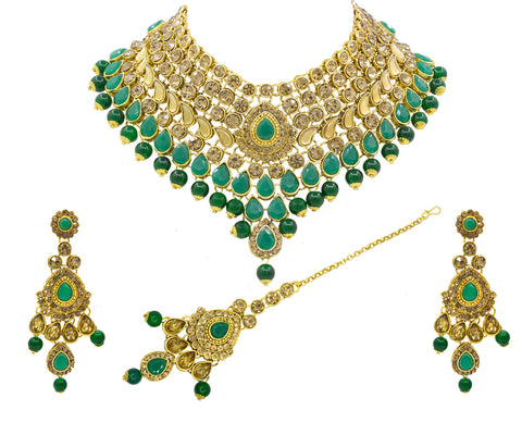 Glorious Green Kundan Gold Plated Choker Necklace Set for Women