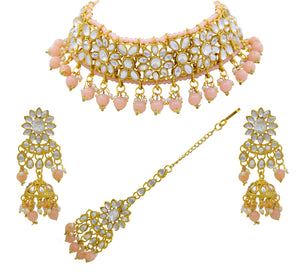 Traditional Indian Bridal Peach Kundan Choker Gold Plated Necklace Set For Women