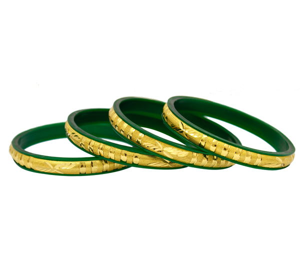 Gold Plated Green Bangle for Women Pack of 4