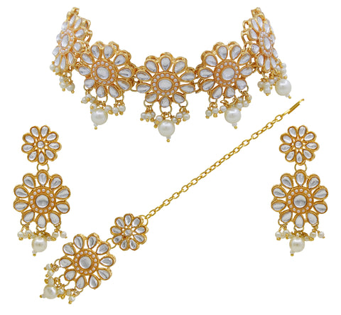 Traditional Gold Plated Choker Necklace Set for Women