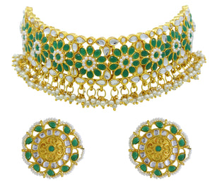 Traditional Gold Plated Kundan Choker Necklace Set for Women