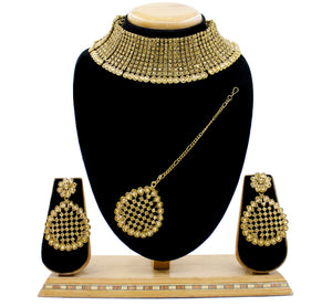 Party Wear Austrian Diamond Alloy Necklace Set with Tikka for Women