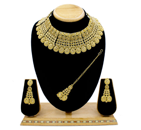 Wedding Collection Austrian Diamond Alloy Choker Necklace Set with Tikka for Women