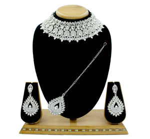 Wedding Jewelry Austrian Diamond Choker Necklace Set For Women