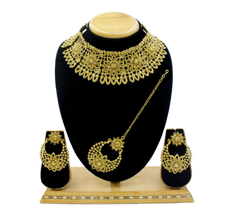 Dazzling Alloy Austrian Diamond Choker Necklace Set For Women