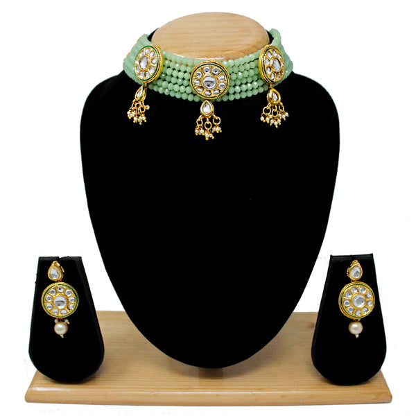 Indian Fashion Bridal Multi Layer Kundan Patti Choker Set (Maroon, Light Green, Green)