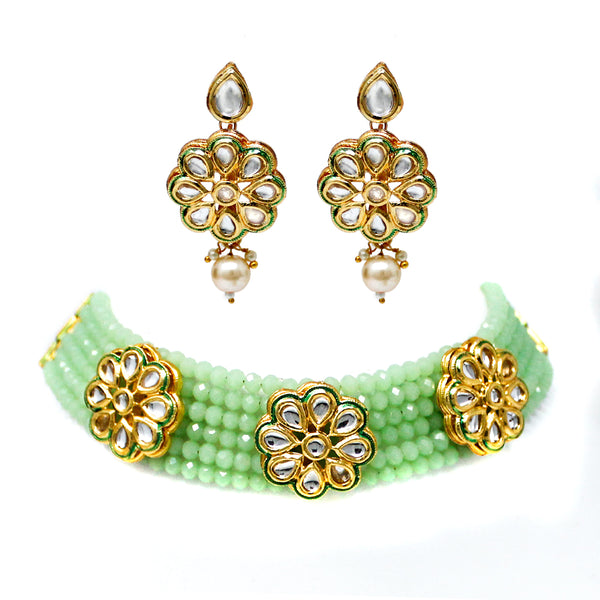 Indian Fashion Multi Layer Kundan Patti Choker Set. (Light Green,Green,Maroon)