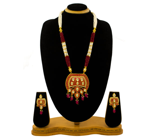Kundan Pendent Mala Set With Minakari And Light Green  Colour Beads