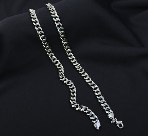 Silver Plated Cuban Chain