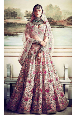 Indian Bridal Taffeta Silk Embroidered Bridal Semi-Stitched Peach Lehenga Choli with Dupatta For Women