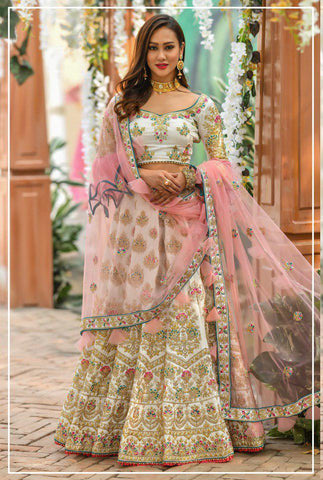 Chennai Silk Embroidered Bridal Semi-Stitched Pink Truly Traditional Lehenga Choli with Dupatta For Women