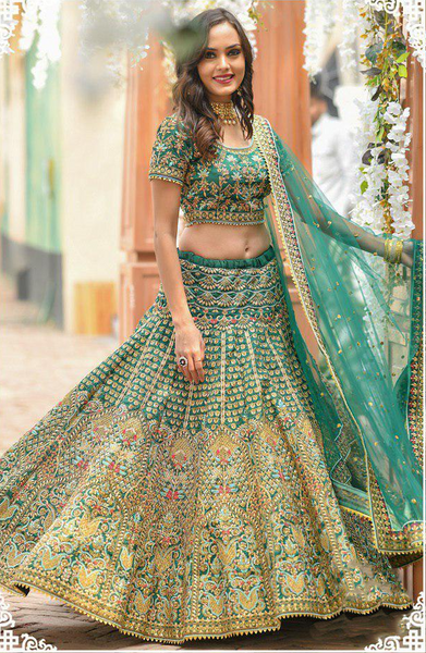 Phantom silk Embroidered Bridal Semi-Stitched Sea Green Truly Traditional Lehenga Choli with Dupatta For Women