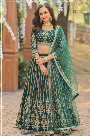 Chennai Silk Embroidered Bridal Semi-Stitched Green Truly Traditional Lehenga Choli with Dupatta For Women