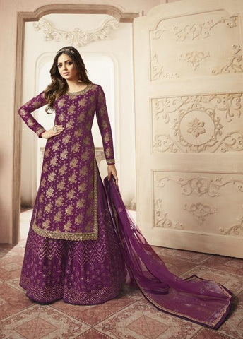 Heavy Jacquard Silk Georgette With Diamond work Semi Stiched Dress.