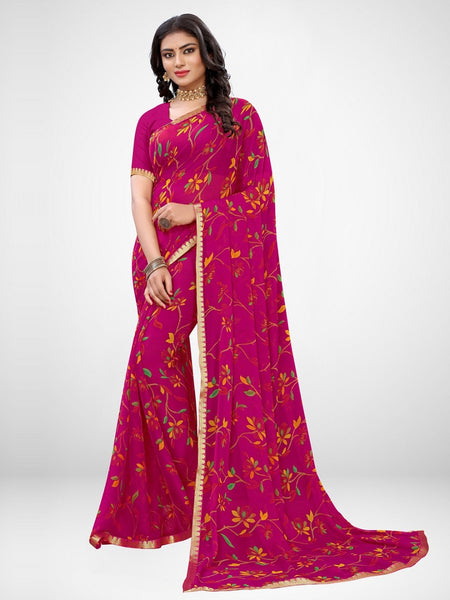 Wedding Collection light Weight Printed Chiffon Sarees for Women.