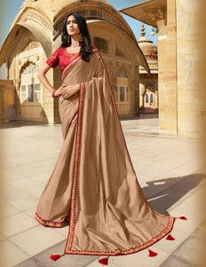 New Collection Vichitra Silk Embroidery Work Saree for women.
