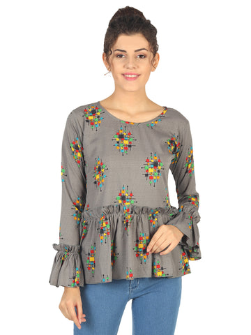 Casual Half Sleeve Floral Printed Top for Women
