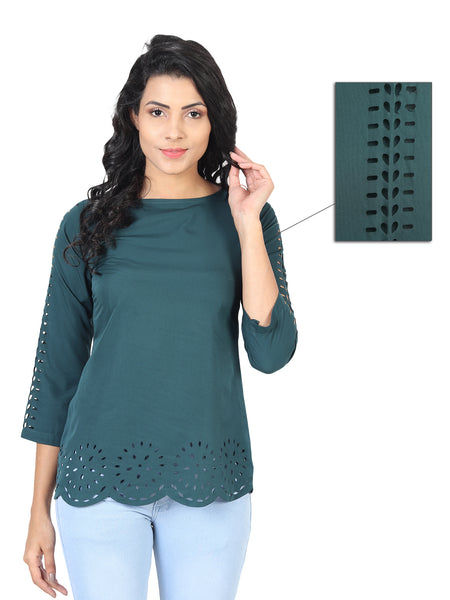 Casual Half Sleeve Solid Top for Women