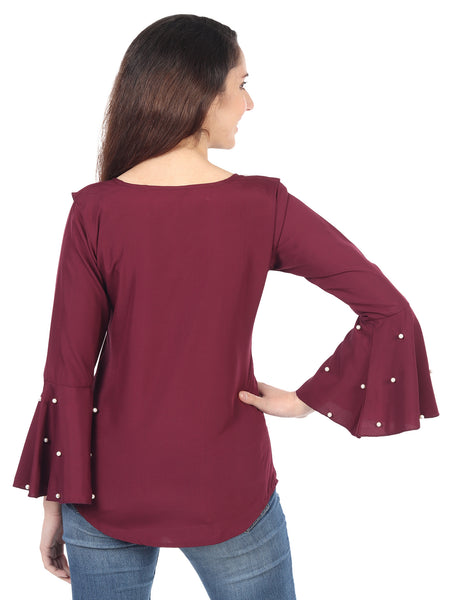 Casual Half Sleeve Solid Pearl Top for Women