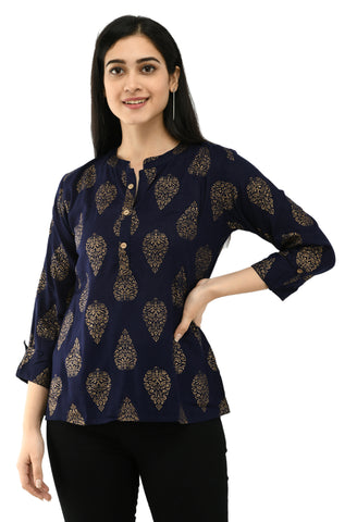 Casual Half Sleeve Printed Blue Top for Women