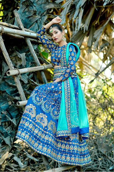 Wedding Collection Silk Embroidered Work Blue Lehenga