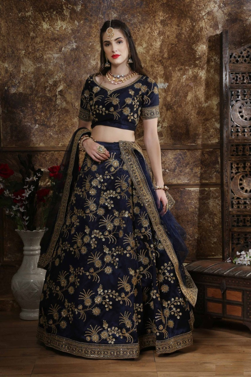 Wedding Collection Phantom Silk Coding Thread Zari And Sequince Embroidered Work Navy Blue Bridal Lehenga