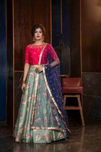 Rayon with Sequence Embroidered Work Navy Blue Party Wear Collection Lehenga