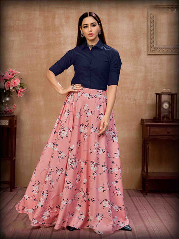 Festive Collection Silk Top Pink Silk Printed Skirt For Girls Collection