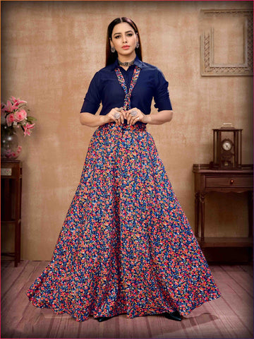 Festive Collection Silk Top Navy Blue Silk Printed Skirt For Girls Collection