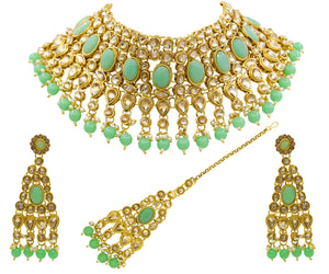 TRADITIONAL KUNDAN MINT & PEARL CHOKER NECKLACE SET