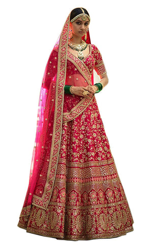 Georgette Embroidered Bridal Semi-Stitched Pink Lehenga Choli with Dupatta For Women