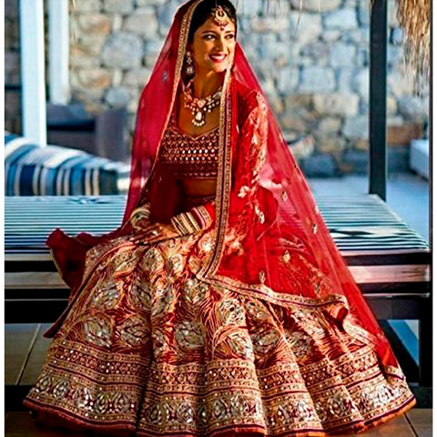Brocade and Georgette Embroidered Bridal Semi-Stitched Red Lehenga Choli with Dupatta For Women