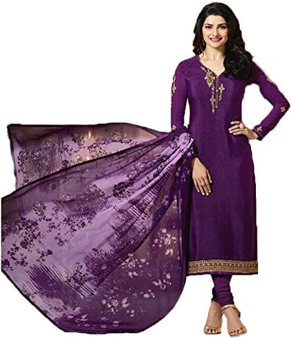 Festive Collection Semi Stitched French Printed Georgette Purple Salwar Suit