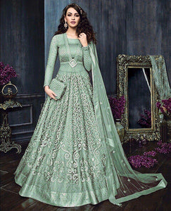 Wedding Collection Net & Banglori Satin Embroidered Semi Stiched Gown / Dress