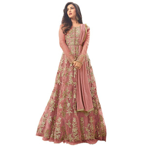 Wedding Collection Net & Banglori Satin Embroidered Peach Semi Stiched Anarkali Dress