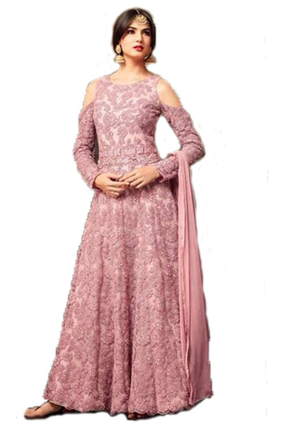 Wedding Collection Net & Banglori Satin Embroidered Semi Stiched Gown / Dress.