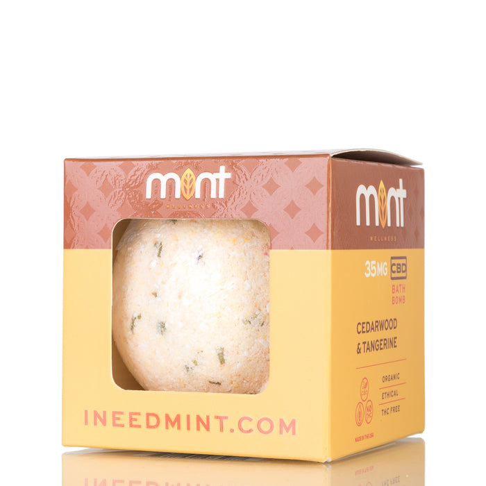Cedarwood and Tangerine by Mint Wellness Bath Bomb - 35mg/4.5oz