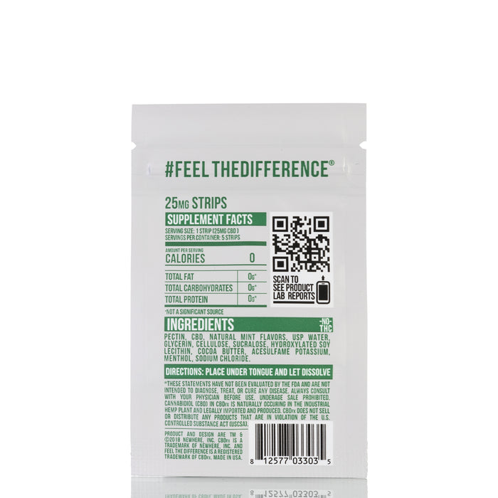 Fresh Mint by CBDfx Hemp Strips - 125mg/5ct