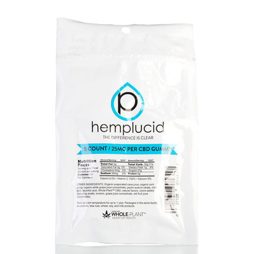 Hemp Extract CBD Edible Gummies by Hemplucid Gummies - 125mg/5ct
