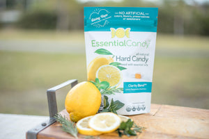 Essential Candy Healthy Hard Candy Clarity Blend Lemon Peppermint Lavender Organic Vegan Candy
