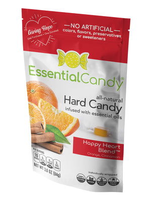 Essential Candy Healthy Hard Candy Happy Heart Orange Cinnamon Organic Vegan Candy