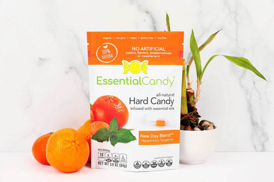 Essential Candy Healthy Hard Candy New Day Blend Peppermint Tangerine Organic Vegan Candy