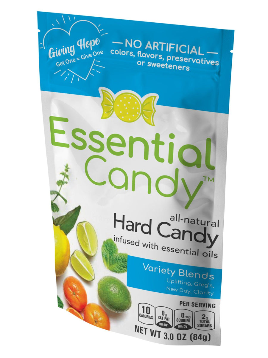 healthy hard candy variety pack essential candy, lemon, lime, spearmint, rosemary, lavender, orange, tangerine, peppermint