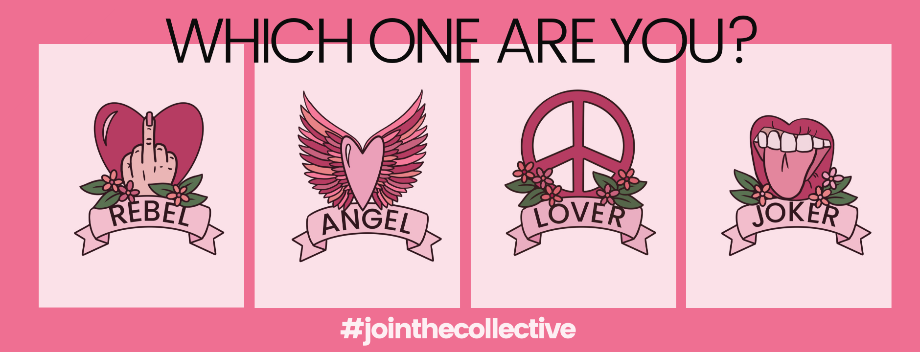 Which one are you home page banner rebel angel lover joker