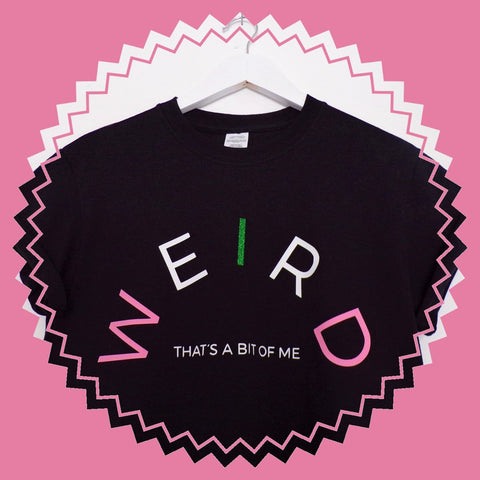 Black t-shirt with unique print handmade in the UK by Emma | Pink Clouding, the ultimate clothing brand for empowering women who have a rebellious nature to express themselves with a playful, affordable and individual sense of style. The brand is real life, real talk and funny!